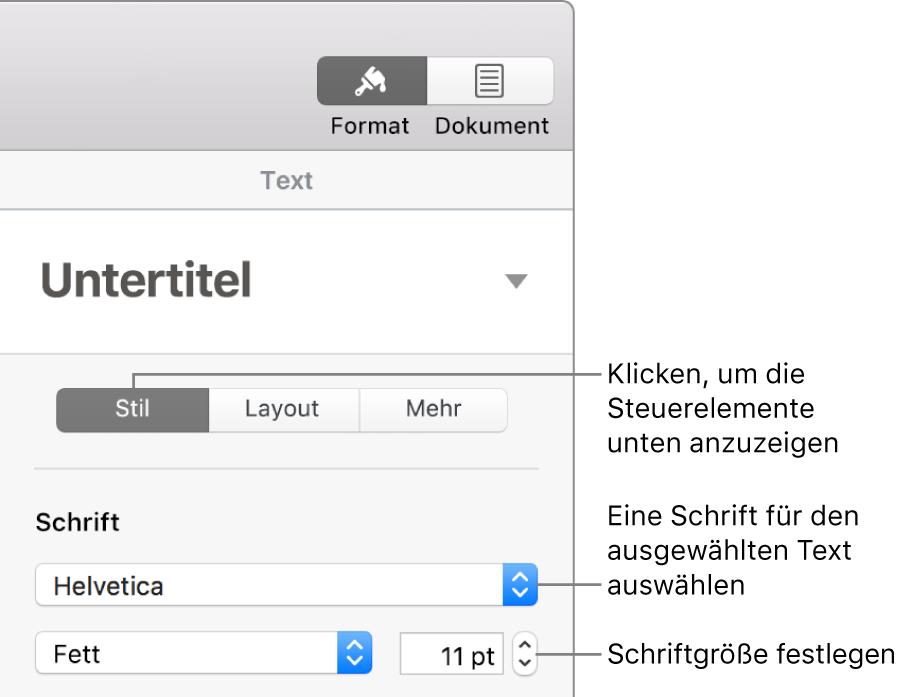 """Textsteuerelemente im Abschnitt """"Stil"""" der Seitenleiste """"Format"""" zum Festlegen der Schrift und der Schriftgröße"""