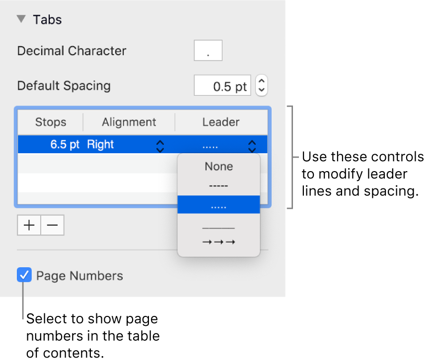 The Tabs section of the Format sidebar. Below Default Spacing is a table with Stops, Alignment and Leader columns. A Page Numbers tickbox appears selected and appears below the table.