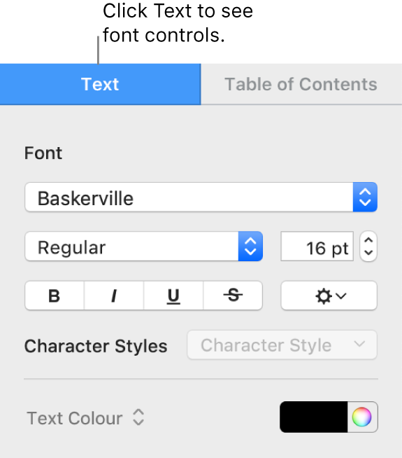 The Format sidebar with the Text tab selected and font controls for changing the font and font size and adding character styles.