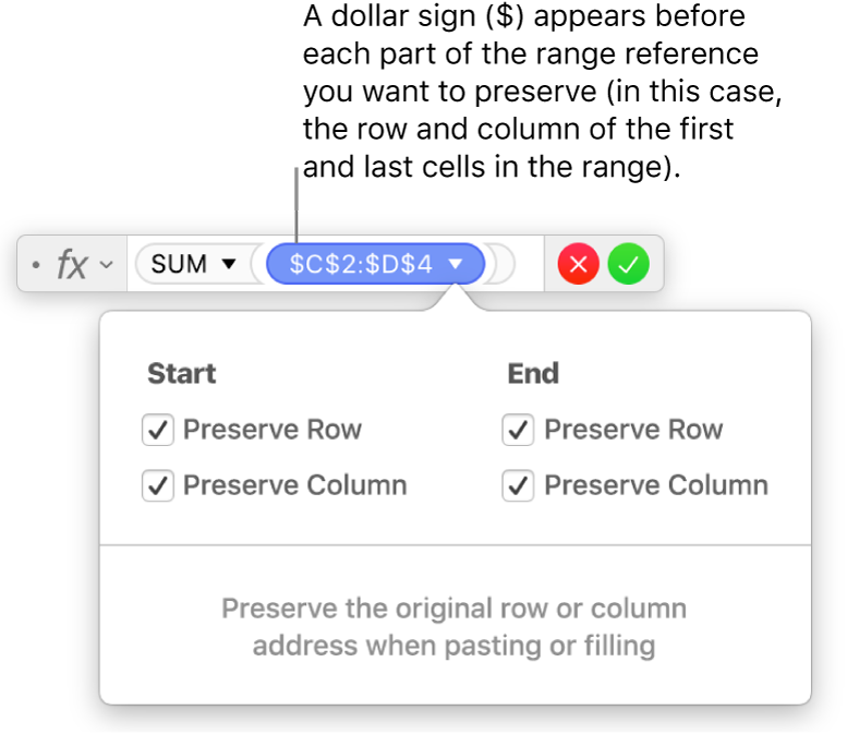 Formula editor with row and column references preserved.