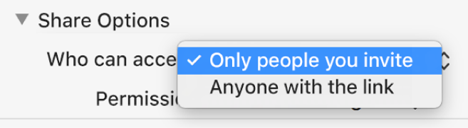 "The Share Options section of the collaboration dialogue with the ""Who can access"" pop-up menu open and ""Only people you invite"" selected."