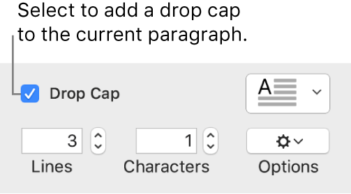 The Drop Cap tickbox is selected, and a pop-up menu appears to its right; controls for setting the line height, number of characters and other options appear below it.