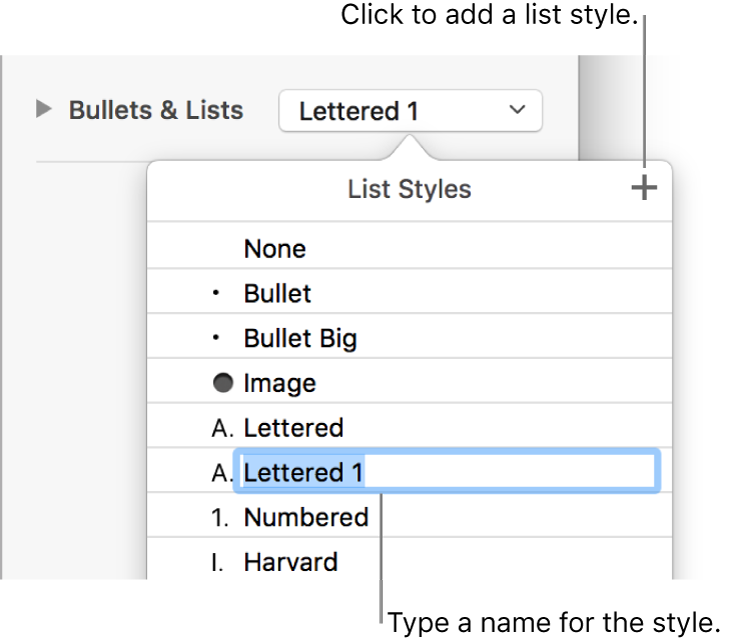 The List Styles pop-up menu with an Add button in the top-right corner and a placeholder style name with its text selected.