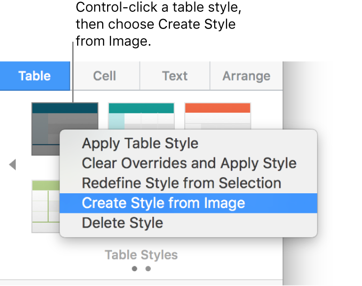 The table style shortcut menu.
