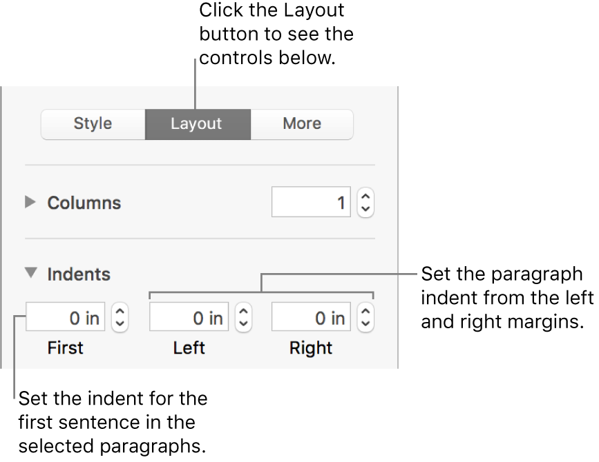 Controls in the Layout section of the Format sidebar for setting first line indent.