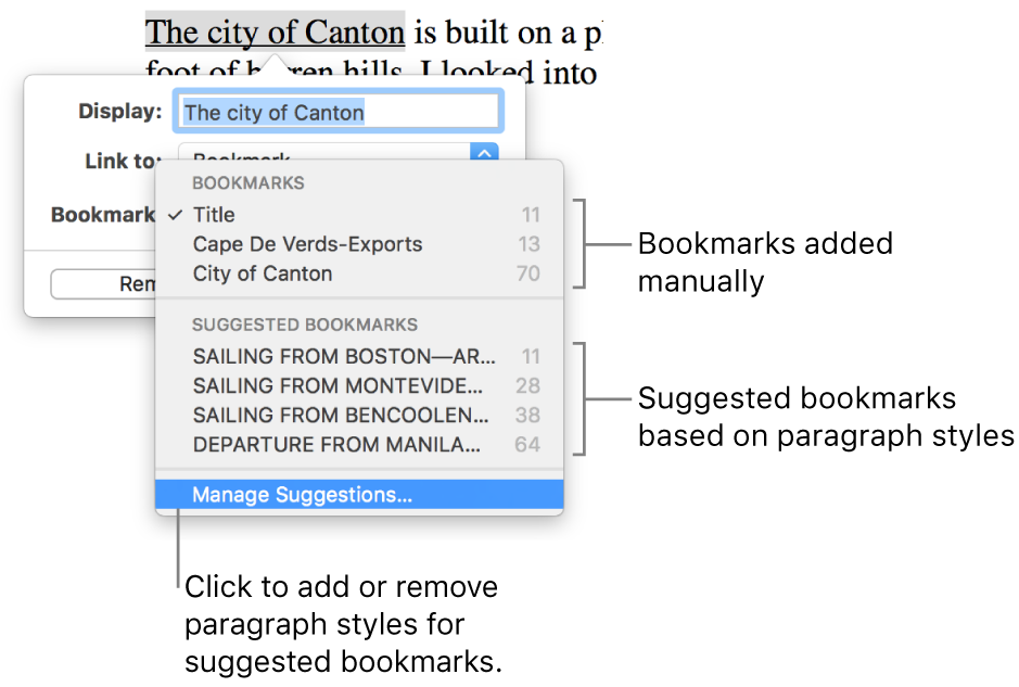 The bookmark list with manually added bookmarks at the top and suggested bookmarks below. The Manage Suggestions option is at the bottom.