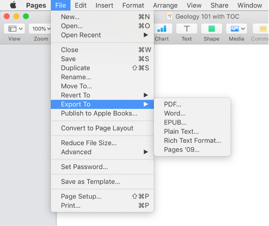 The File menu open with Export To selected, with its submenu showing export options for PDF, Word, Plain Text, Rich Text Format, EPUB, and Pages '09.