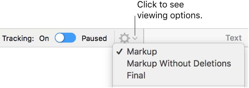 The review options menu showing Markup, Markup Without Deletions, and Final.