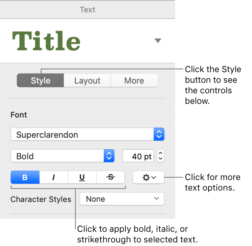 The Style controls in the Format sidebar with callouts to the Bold, Italic, Underline, and Strikethrough buttons.