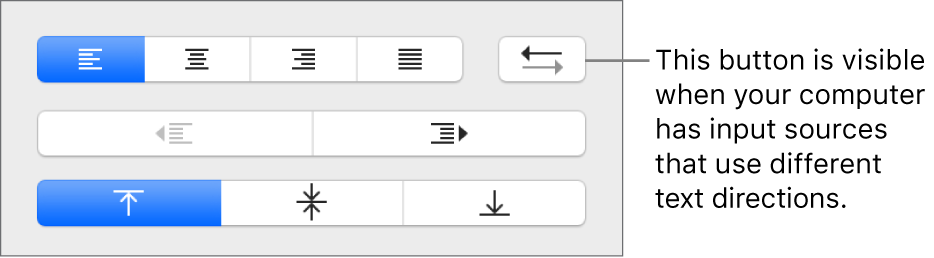 The Paragraph Direction button in the Alignment section of the Format sidebar.