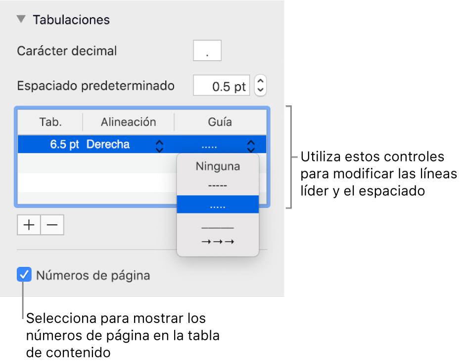 """La sección Tabulaciones de la barra lateral Formato. Debajo de Espacio predeterminado, está una tabla con las columnas Tab., Alineación y Guía. Aparece la casilla """"Números de página"""" seleccionada debajo de la tabla."""