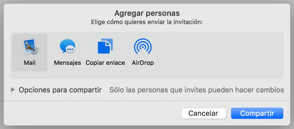 Ventana de los ajustes de colaboración con el botón Compartir en la parte inferior.