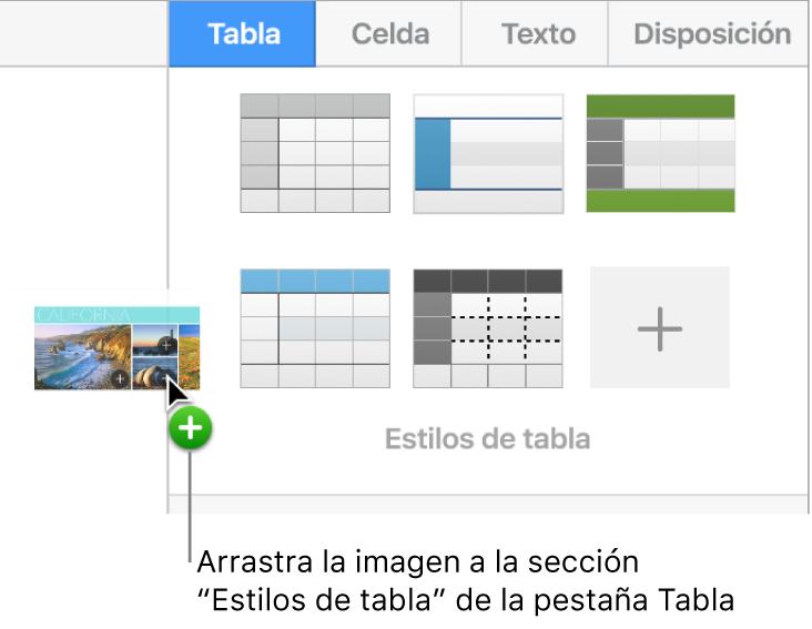 Se arrastra una imagen hasta el panel de estilos de tabla para crear un nuevo estilo.