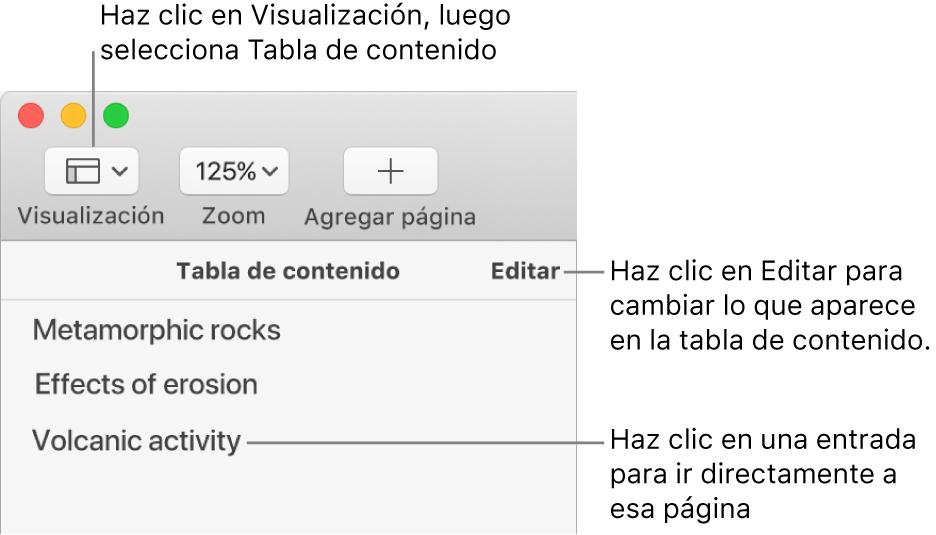 La tabla de contenido en el lado izquierdo de la ventana de Pages con un botón de Edición en la esquina superior derecha de la barra lateral y las entradas de la tabla de contenido en una lista. El botón Visualización está en la esquina superior izquierda de la barra de herramientas de Pages, encima de la barra lateral.