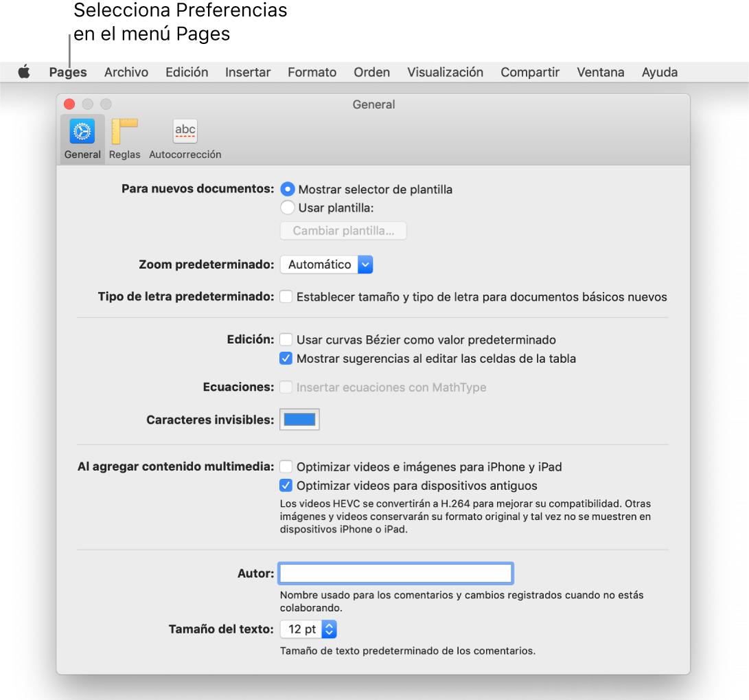 La ventana de preferencias de Pages abierta en el panel General.