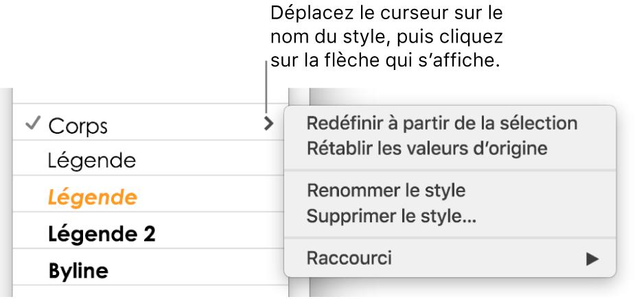 Le menu «Styles de paragraphe» avec le menu contextuel ouvert.