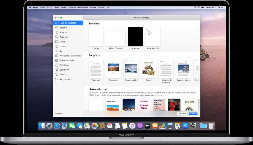 MacBookPro avec la listedemodèles de Pages ouverte à l'écran. La catégorie «Tous les modèles» est sélectionnée à gauche et les modèles prédéfinis sont affichés à droite en rangs par catégorie.