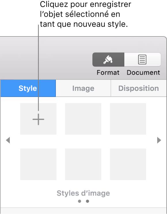 L'onglet Style de la barre latérale Format avec le bouton Créer un style dans le coin supérieur gauche et cinq paramètres fictifs de style vides.