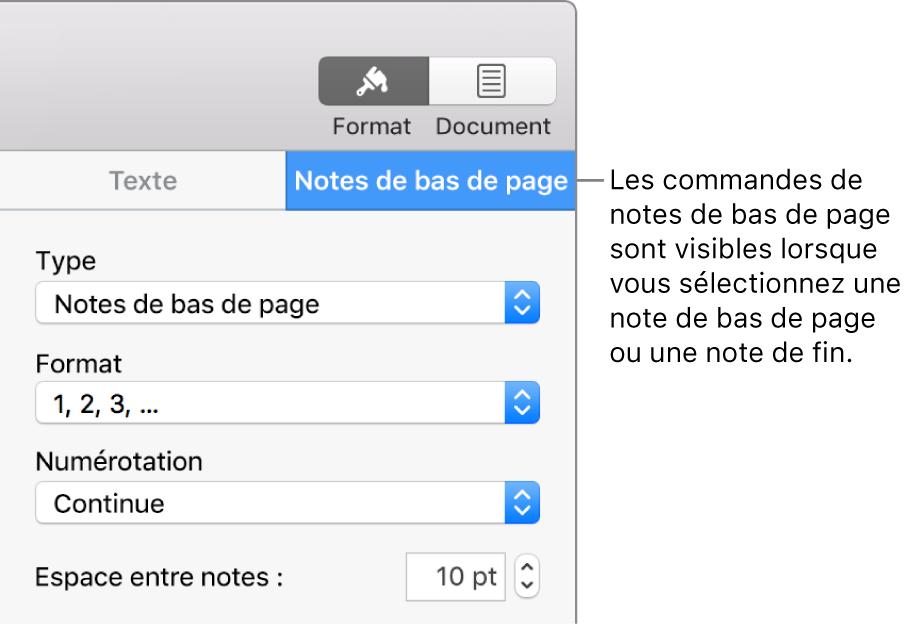 Sous-fenêtre des notes de pied de page affichant les menus locaux Type, Format, Numérotation et Espace entre notes.