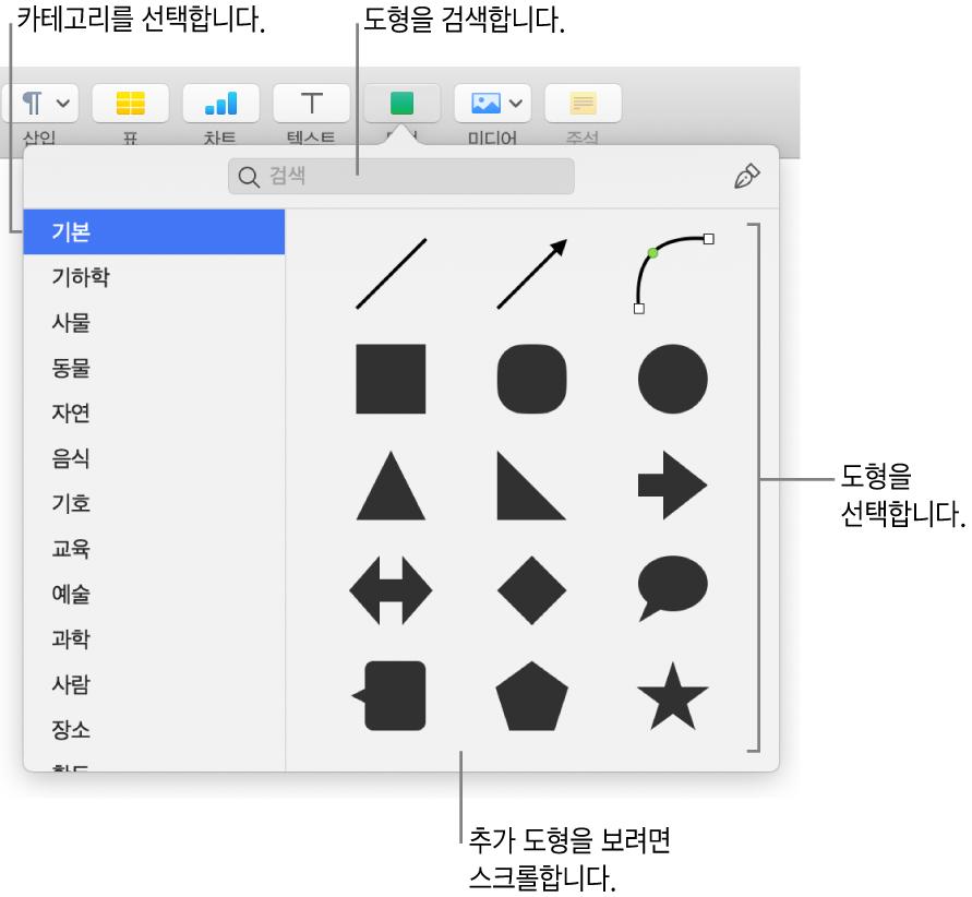 왼쪽에 카테고리 목록이 있고 오른쪽에 도형들이 표시된 도형 라이브러리. 상단 검색 필드를 사용하여 도형을 찾고 스크롤하여 더 많은 도형을 볼 수 있습니다.
