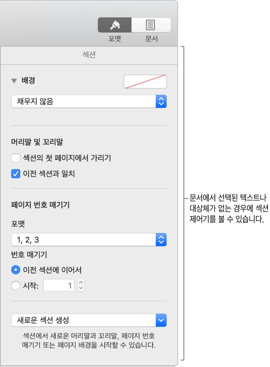 도구 막대의 포맷 버튼이 선택되어 있고 그 아래에는 섹션 제어기가 있음.