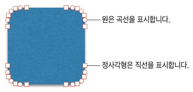 편집 가능한 점이 있는 도형.
