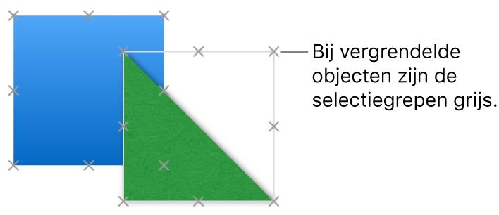 Vergrendelde objecten met gedimde selectiegrepen.