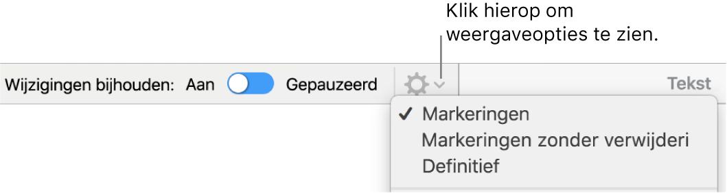 Het menu met controlefuncties, met de opties 'Markeringen', 'Markeringen zonder verwijderingen' en 'Definitief''.