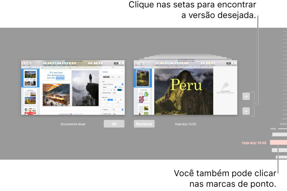 Linha do tempo da versão mostrando o documento atual à esquerda e uma versão recente à direita.