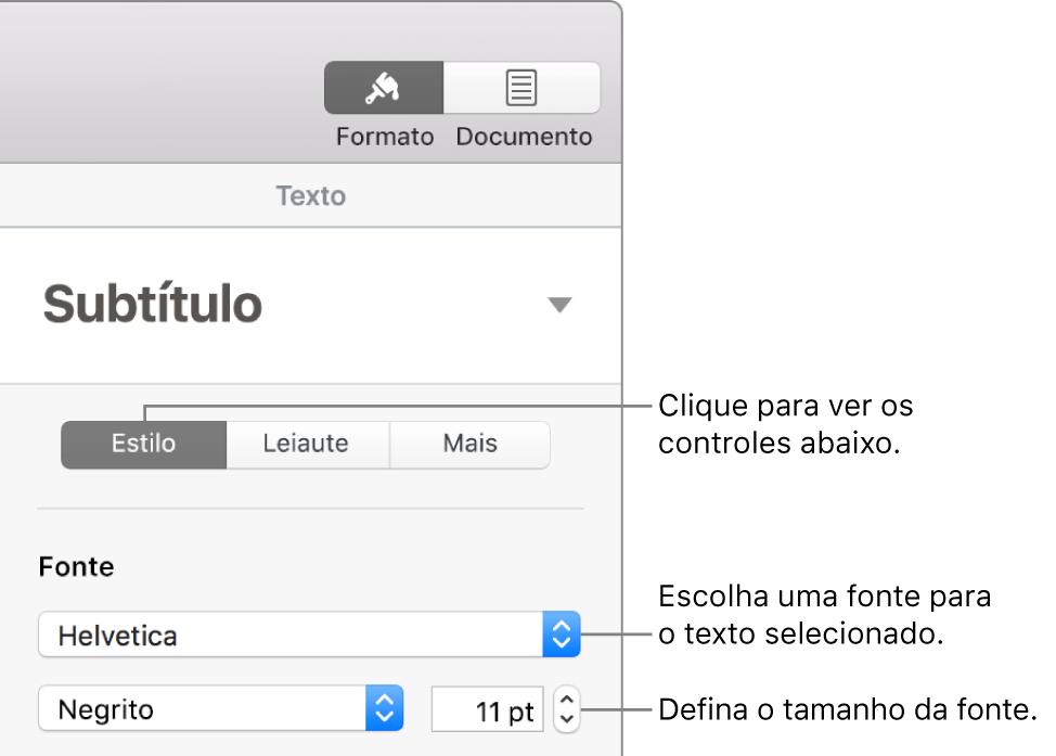 Controles de texto na seção Estilo da barra lateral Formatar para ajustar a fonte e o tamanho da fonte.