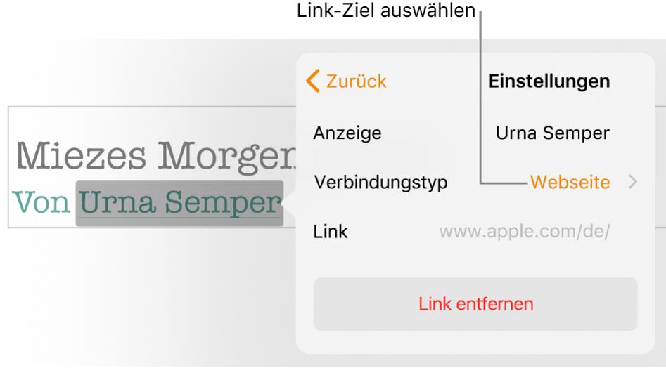 """Das Popover """"Linkeinstellungen"""" mit den Feldern """"Anzeigen"""", """"Ziel"""" (auf Webseite eingestellt"""") und """"Link"""". Unten im Popover befindet sich die Taste """"Link entfernen""""."""