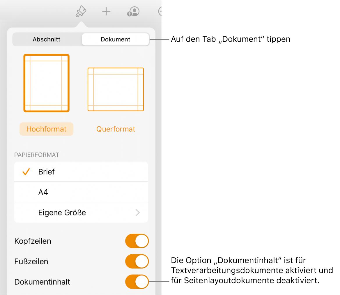 """Die Steuerelemente für das Dokumentformat mit aktivierter Option """"Dokumentinhalt"""" unten auf dem Bildschirm."""