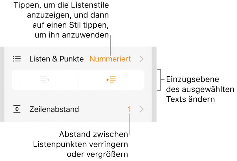 """Der Abschnitt """"Listen& Punkte"""" der Formatsteuerungen mit Beschreibungen für """"Listen & Punkte"""", den Tasten """"Einrücken"""" und """"Ausrücken"""" und Steuerelemente für den Zeilenabstand."""
