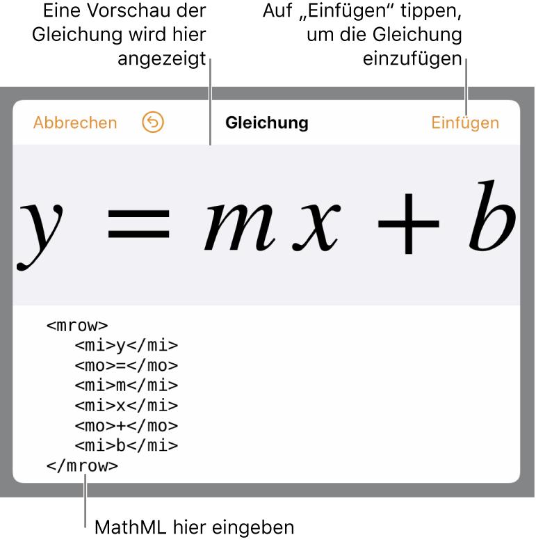 MathML-Code für die Gleichung der Steigung einer Linie und einer Vorschau der Formal darüber.