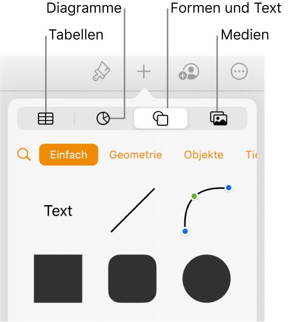 """Das Popover """"Einfügen"""" mit Tasten zum Hinzufügen von Tabellen, Diagrammen, Text, Formen und Medien oben"""