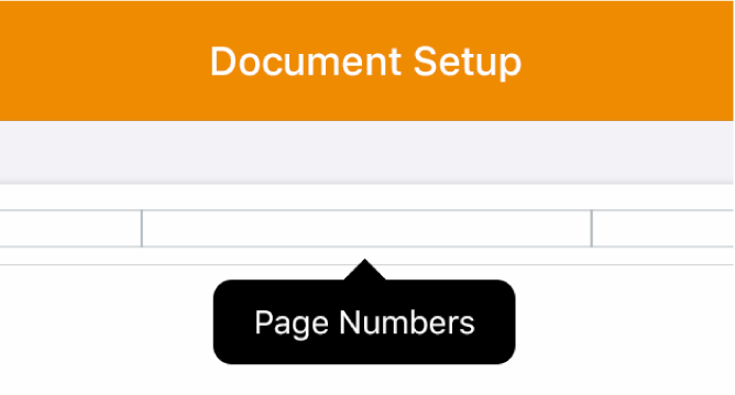 Three header fields with the insertion point in the centre one and a pop-up menu showing Page Numbers.