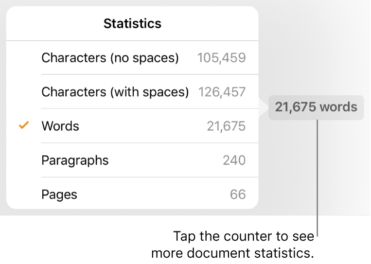 The word counter with a pop-over showing options to show the number of characters with and without spaces, word count, paragraph count and page count.