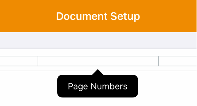 Three header fields with the insertion point in the center one and a pop-up menu showing Page Numbers.