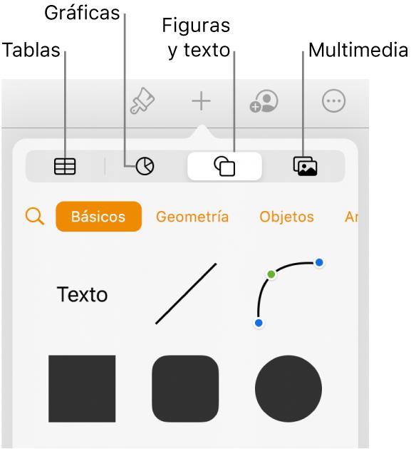 El menú desplegable Insertar con botones para agregar tablas, gráficas, texto, figuras y contenidos en la parte superior.