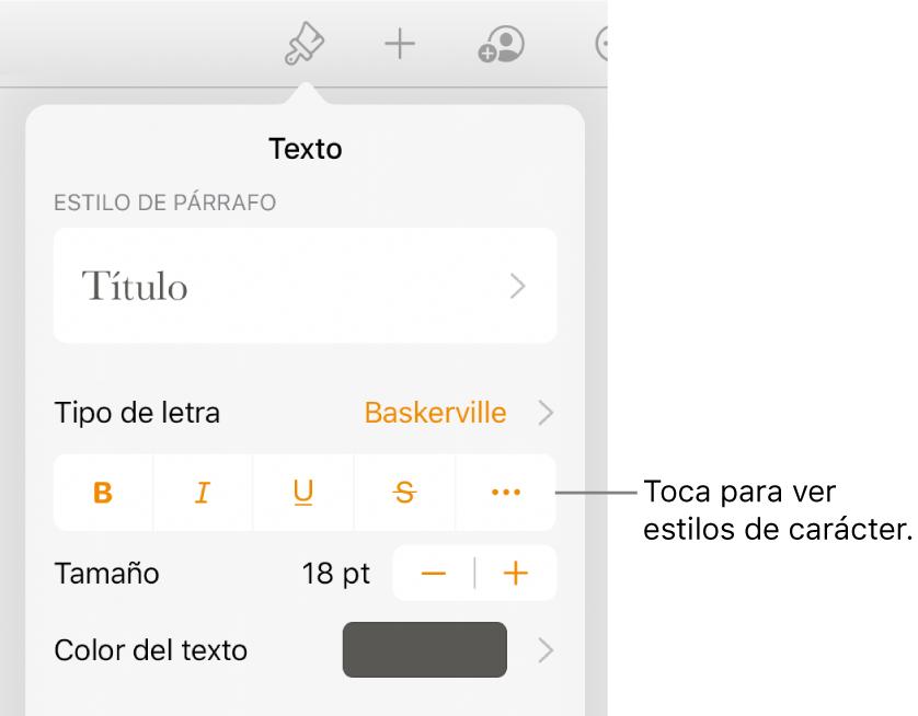 """Los controles de formato con los estilos de párrafo en la parte superior, seguidos de los controles para """"Tipo de letra"""". Debajo de """"Tipo de letra"""" aparecen los botones Negrita, Cursiva, Subrayado, Tachado y """"Más opciones de texto""""."""