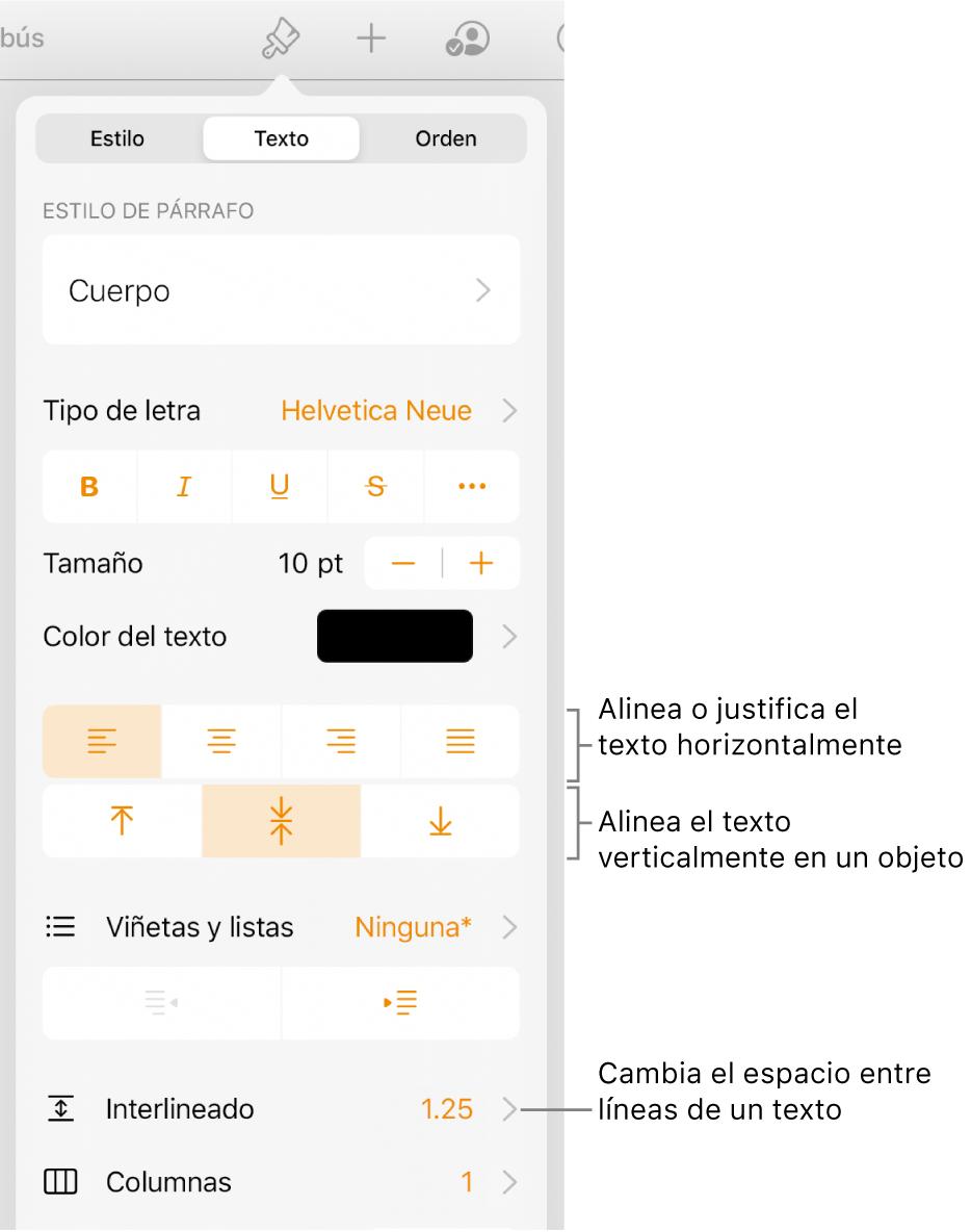 El panel Alineación con mensajes en los botones de alineación de texto y espaciado.