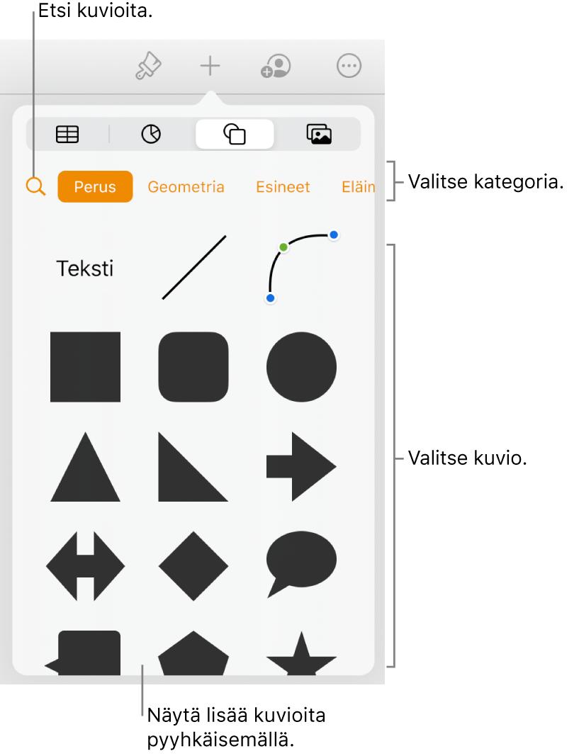 Kuviokirjasto, jossa näkyy yläreunassa kategorioita ja alla kuvioita. Voit etsiä kuvioita yläreunassa olevan hakupainikkeen avulla ja näyttää niitä lisää pyyhkäisemällä.