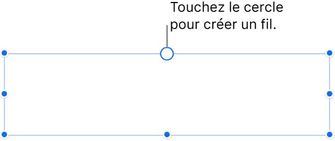 Une zone de texte vide avec un cercle blanc en haut et des poignées de redimensionnement sur les coins, les côtés et en bas.