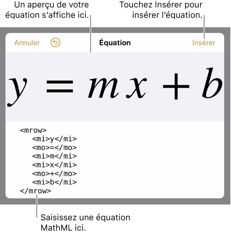 Code MathML de l'équation de la pente d'une droite et aperçu de la formule en haut.
