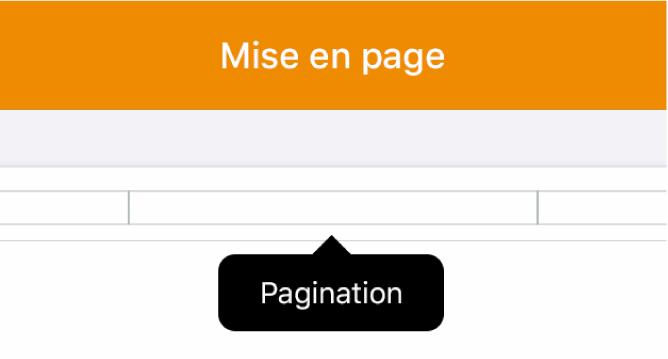 Trois champs d'en-tête avec le point d'insertion dans celui du milieu et un menu local affichant l'option Pagination.