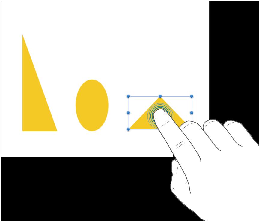 図形をタップしている1本の指。