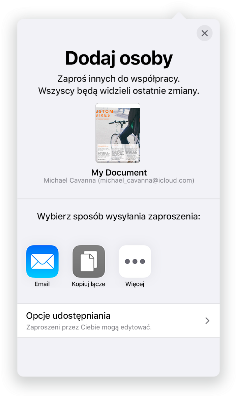 Ekran Dodaj osoby zobrazkiem udostępnianego dokumentu. Poniżej widoczne są przyciski różnych sposobów wysyłania zaproszenia, takie jak Mail, Kopiuj łącze oraz Więcej. Na dole znajduje się przycisk Opcje udostępniania.