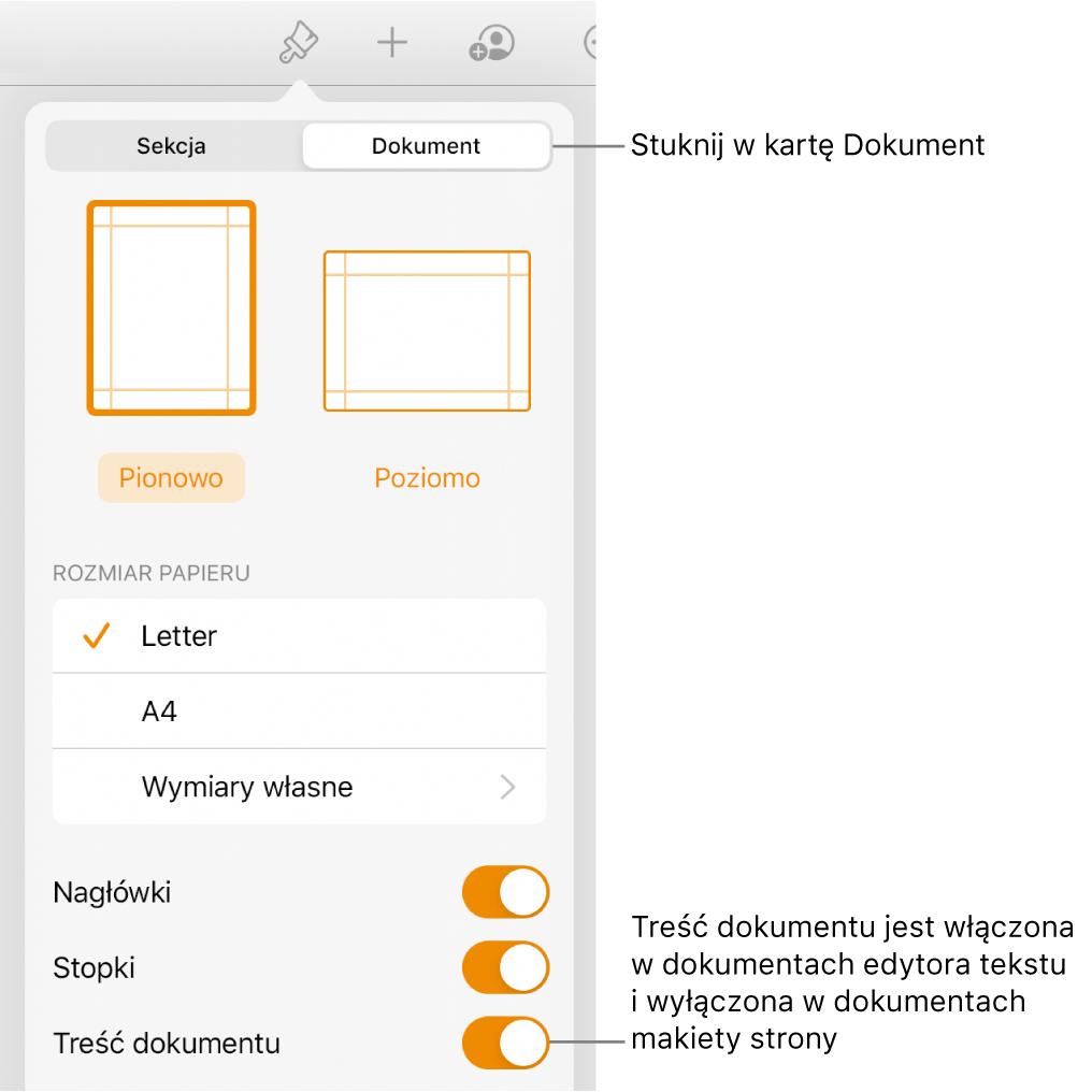 Narzędzia formatu dokumentu. Na dole ekranu widoczny jest włączony przełącznik Treść dokumentu.