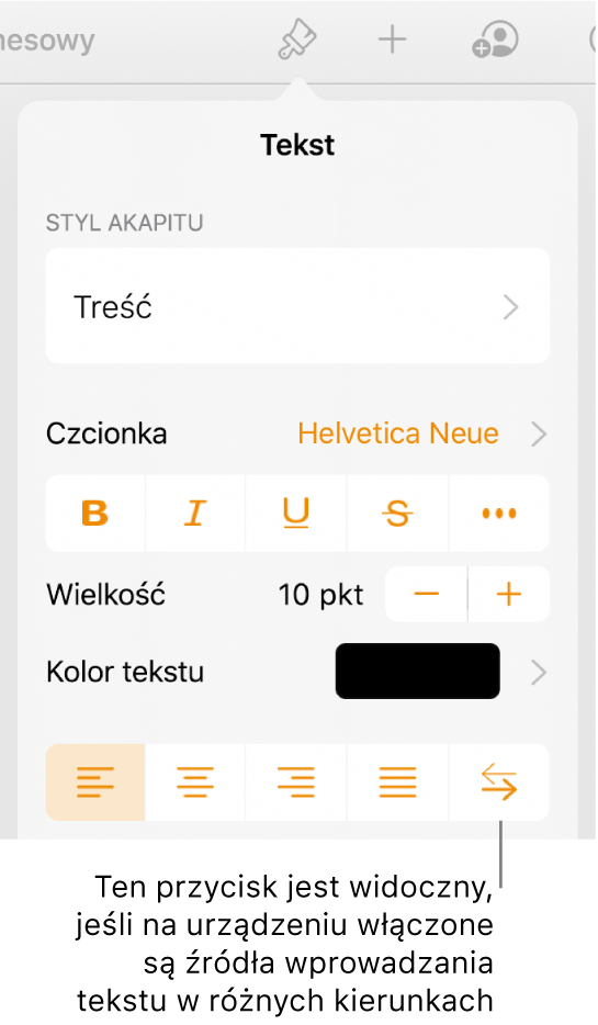 Narzędzia tekstu wmenu Format zobjaśnieniem wskazującym przycisk Od prawej do lewej.