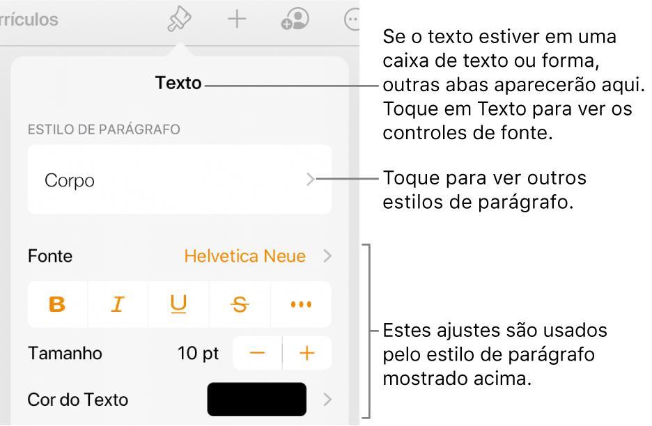 O menu Formatar, mostrando controles de texto para definir estilo, fonte, tamanho e cor de caractere e parágrafo.